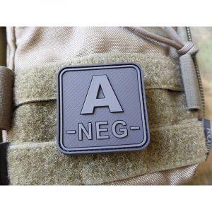 JTG BloodType patch A NEG, blackops, 50x50mm / JTG 3D Rubber Patch / CloseOut