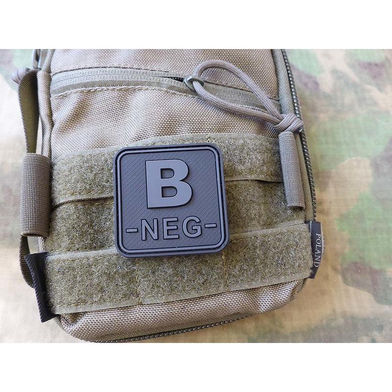JTG BloodType patch B NEG, blackops, 50x50mm / JTG 3D Rubber Patch / CloseOut