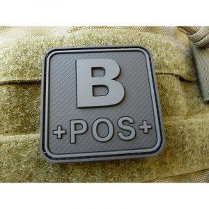 JTG BloodType patch B POS, blackops, 50x50mm / JTG 3D Rubber Patch / CloseOut