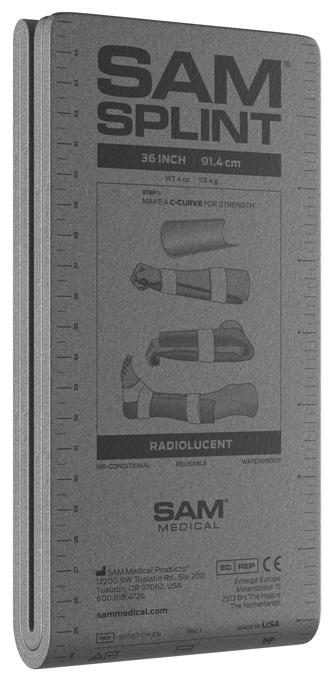 """Sam Medical Splint 36"""" 91,4 Cms Dobrado Cinzento"""